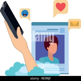 hands with smarthphone and social network profile avatar