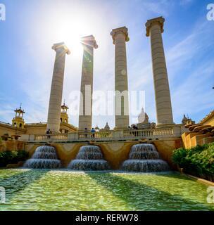 Water features in front of the Palau Nacional de Montjuic, National Palace at Montjuic, Museu Nacional d'Art de Catalunya - Stock Photo
