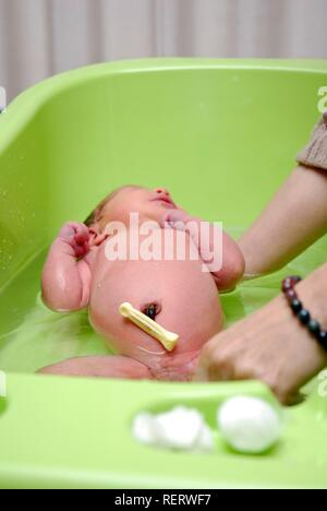 A newborn baby being bathed, selective focus on the umbilical cord stump - Stock Photo