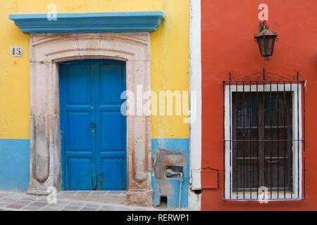 Doors and windows, historic town of Guanajuato, UNESCO World Heritage Site, Province of Guanajuato, Mexico - Stock Photo