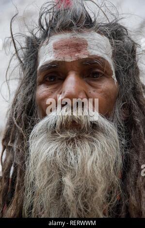 Indian Holy man, Sadhu, portrait, Varanasi, Benares, Uttar Pradesh, India, South Asia - Stock Photo