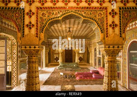 Jaipur, City Palace, Museum of Sawai Man Singh II inside the Chandra Mahal, Rajasthan, India, South Asia - Stock Photo