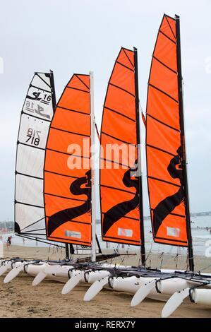 Catamarans on the beach of La Baule, Pays de Loire, France, Europe - Stock Photo