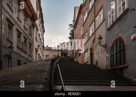 steps from a backstreet leading up to the castle in Prague - Stock Photo