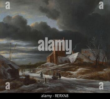 Winter Landscape. Dating: c. 1665. Measurements: h 42 cm × w 49.7 cm; h 61.3 cm × w 69.1 cm × t 9 cm. Museum: Rijksmuseum, Amsterdam. Author: Jacob Isaacksz. van Ruisdael. Salomon Van Ruysdael. - Stock Photo