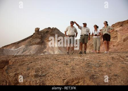 Hiking on Sir Bani Yas Island, private game reserve in the Persian Gulf with over 10000 steppe animals, near Abu Dhabi - Stock Photo