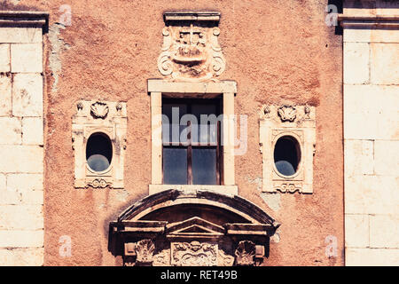 View on street of Catania, Sicily, Italy - facade of an ancient cathedral. Traditional architecture - Stock Photo