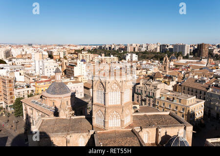 Looking down on Valencia cathedral from the top of the bell tower, Spain, Europe - Stock Photo