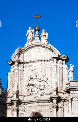 Baroque facade of Valencia cathedral, Spain, Europe - Stock Photo