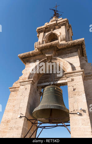 Close up of the bell within the bell tower of Valencia cathedral, El Miguelete, Spain, Europe - Stock Photo