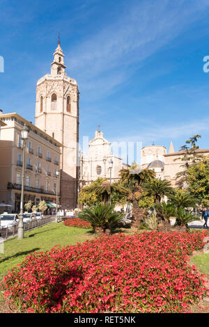 The Placa de la Reina and the bell tower of Valencia cathedral, Spain, Europe - Stock Photo