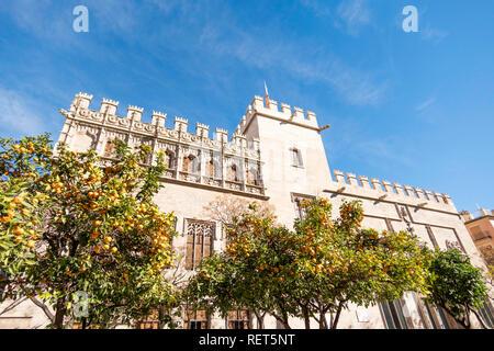 The silk exchange building or La Lonja de la Seda in Valencia, Spain, Europe - Stock Photo