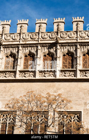 Architectural detail, the silk exchange building or La Lonja de la Seda in Valencia, Spain, Europe - Stock Photo