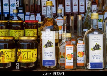 Street sale of local specialties, near Virpazar, Lake Skadar National Park, near Bar, Montenegro - Stock Photo
