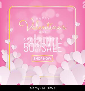 Valentines day sale background in sweet pink color with typography and gold frame with bunch of white heart in paper cut (paprt art, digital craft) st - Stock Photo
