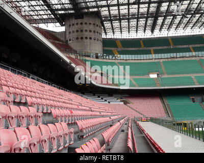 Seating in the San Siro football stadium, Milan, Italy. - Stock Photo