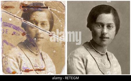 Example of restoration of an old passport photo (before / after). Exemple de restauration de photographie ancienne (avant / après). - Stock Photo