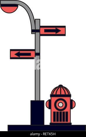 fire water hydrant light pole arrow traffic - Stock Photo