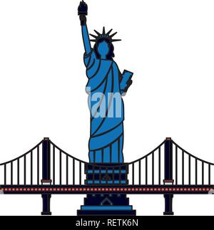 new york city statue of liberty and bridge - Stock Photo