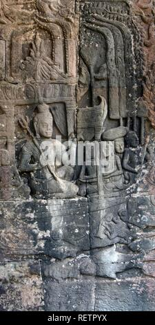 Bas relief, North gallery, Bayon Temple, Angkor Thom, UNESCO World Heritage Site, Siem Reap, Cambodia - Stock Photo