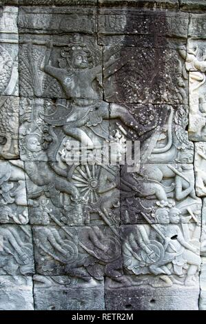 Procession of warriors, North-West Gallery, Bayon Temple, Angkor Thom, UNESCO World Heritage Site, Siem Reap, Cambodia - Stock Photo