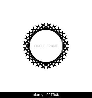 Round frame, woven art circle frame, isolated on white background. - Stock Photo
