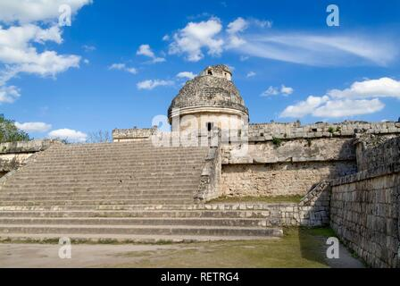 Chichen Itza, El Caracol, The Snail also called The Observatory, Yucatan, Mexico, UNESCO World Heritage Site - Stock Photo