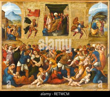 Massacre of the Innocents. Dating: 1510 - 1530. Measurements: h 31 cm × w 38 cm. Museum: Rijksmuseum, Amsterdam. Author: Lodovico Mazzolino. Mazzolino, Ludovico. - Stock Photo