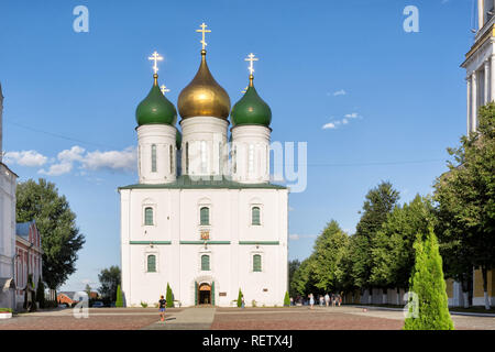 Kolomna, Russia – August 14, 2018: Tourists near the Cathedral of the Assumption of the Blessed Virgin in the Cathedral square of the Kolomna Kremlin. - Stock Photo