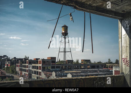 Detroit, Michigan, United States - October 2018: View of the abandoned Packard Automotive Plant in Detroit. The Packard Plant sprawls multiple city - Stock Photo