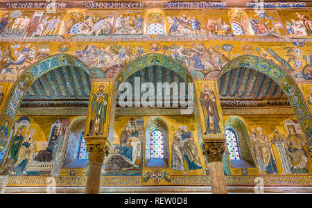 Palatine Chapel from the Norman Palace (Palazzo dei Normanni) in Palermo. Sicily, Italy. - Stock Photo