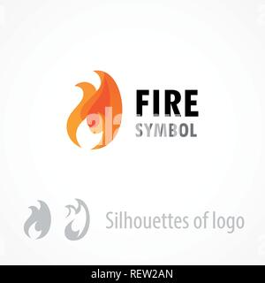 Fire symbol, logo emblem isolated on white - Style vector illustration of flame. - Stock Photo