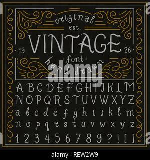Font Script Typeface handcrafted handwritten vector label