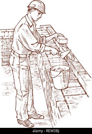 Bricklayer or Man builder on the roof of the house. Worker Engineer in the helmet. Hand drawn retro vintage illustration. Engraved sketch. - Stock Photo