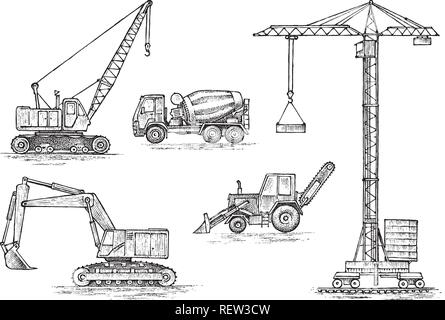 Engineering vehicle. Heavy equipment for the construction of buildings. Agricultural machinery. Crane and agrimotor, tractor and excavator, concrete truck for farm and earthwork operations. Hand drawn - Stock Photo