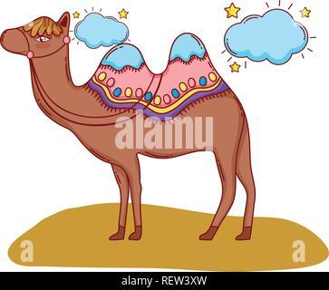 desert camel cartoon - Stock Photo