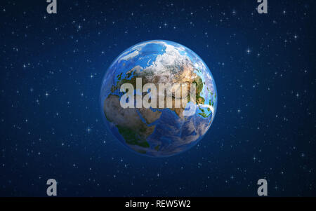 Planet Earth in space, focused on Europe and Asia. 3D illustration - Elements of this image furnished by NASA. - Stock Photo