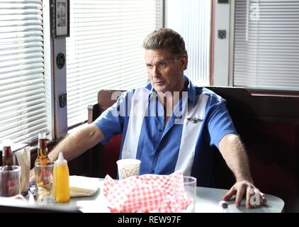 DAVID HASSELHOFF  Character(s): Gilbert Grayson Shepard  Film 'SHARKNADO 3: OH HELL NO!' (2015)  Directed By ANTHONY C. FERRANTE  22 July 2015  SAX93063  Allstar Picture Library/SYFY  **WARNING** This Photograph is for editorial use only and is the copyright of SYFY  and/or the Photographer assigned by the Film or Production Company & can only be reproduced by publications in conjunction with the promotion of the above Film. A Mandatory Credit To SYFY is required. The Photographer should also be credited when known. No commercial use can be granted without written authority from the Film Compa - Stock Photo