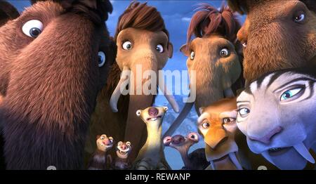 Julian, Ellie, Peaches, Manny, Shira, Diego, Crash, Eddie, Sid & Scrat Film: Ice Age: Collision Course; Ice Age 5 (USA 2016)   Director: Mike Thurmeier & Galen T. Chu 19 June 2016  SAQ65859 Allstar Picture Library/20TH CENTURY FOX  **Warning**  This Photograph is for editorial use only and is the copyright of 20TH CENTURY FOX  and/or the Photographer assigned by the Film or Production Company & can only be reproduced by publications in conjunction with the promotion of the above Film. A Mandatory Credit To 20TH CENTURY FOX is required. The Photographer should also be credited when known. No co - Stock Photo