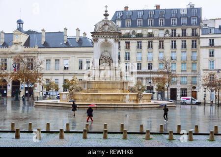 Paris (France) -  Place Saint-Sulpice and the Fontaine des Quatre Points Cardinaux - Stock Photo