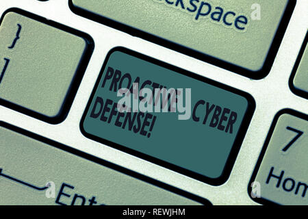 Handwriting text Proactive Cyber Defense. Concept meaning anticipation to oppose an attack involving computer Keyboard key Intention to create compute - Stock Photo