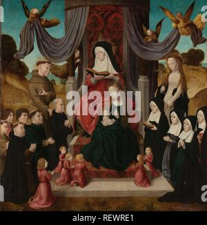Virgin and Child with Saint Anne and Saints Francis and Lidwina, with Donors (Anna Selbdritt). Dating: c. 1490 - c. 1500. Measurements: support: h 55.5 cm × w 53.5 cm; painted surface: h 54.5 cm × w 52.2 cm; d 6 cm. Museum: Rijksmuseum, Amsterdam. Author: Master of the Saint John Panels. ANONYMOUS. Netherlandish master. - Stock Photo