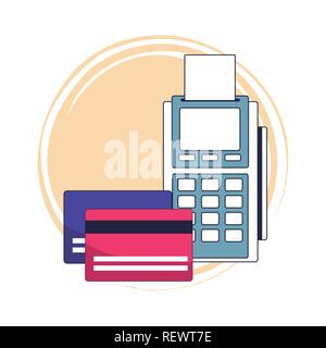 Credit cards and reader - Stock Photo