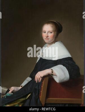 Portrait of Maria van Strijp. Maria van Strijp (1627-1707), echtgenote van Eduard Wallis. Dating: 1652. Measurements: h 97 cm × w 75 cm; d 5.5 cm. Museum: Rijksmuseum, Amsterdam. Author: Johannes Cornelisz. Verspronck. - Stock Photo
