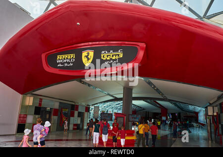 nside Ferrari World at Yas Island in Abu Dhabi in the United Arad Emirates. Ferrari World is the largest indoor amusement park in the world. - Stock Photo