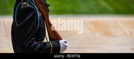 An Army soldier, in white gloves, carrying his weapon on guard duty. - Stock Photo