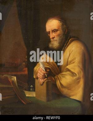 An old scholar. Dating: 1645 - 1672. Measurements: h 29.5 cm × w 24 cm; d 5.2 cm. Museum: Rijksmuseum, Amsterdam. Author: Gottfried Kneller (copy after). Karel van der Pluym (attributed to). - Stock Photo
