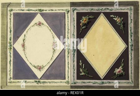 Design for room decoration with two panels, one with a window in yellow and one with a wreath of roses in a window. Draughtsman: Abraham Meertens. Dating: 1767 - 1823. Measurements: h 200 mm × w 314 mm. Museum: Rijksmuseum, Amsterdam. - Stock Photo