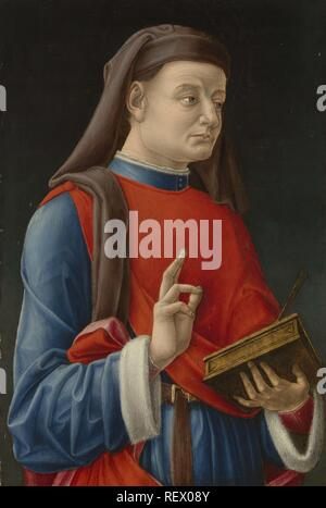 Saint Cosmas (or Damian). Dating: 1460 - 1480. Measurements: h 49.5 cm × w 33 cm; d 5.5 cm. Museum: Rijksmuseum, Amsterdam. Author: Bartolommeo Vivarini (attributed to). VIVARINI, BARTOLOMEO. - Stock Photo