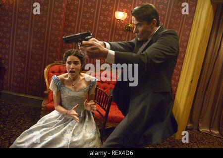 ABIGAIL SPENCER & GORAN VISNJIC  Character(s): Lucy Preston, Garcia Flynn  Television 'TIMELESS' (2016)  Directed By NEIL MARSHALL  03 October 2016  SAW88464  Allstar Picture Library/SONY PICTURES TELEVISION  **WARNING** This Photograph is for editorial use only and is the copyright of SONY PICTURES TELEVISION  and/or the Photographer assigned by the TV or Production Company & can only be reproduced by publications in conjunction with the promotion of the above TV Programme. A Mandatory Credit To SONY PICTURES TELEVISION is required. The Photographer should also be credited when known. No comm - Stock Photo